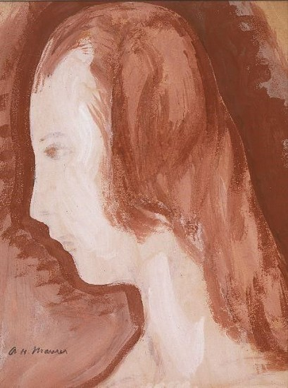 Alfred Maurer, Woman in Profile c. 1920, Sepia-gouache on paper