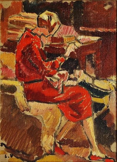 Louis Valtat, La Couturiere en robe rouge dans fauteuil<br /> n.d., oil on panel
