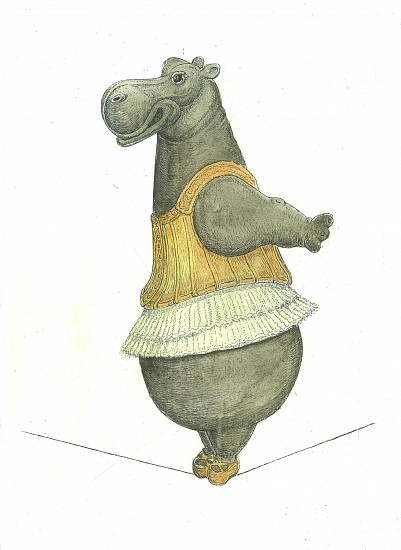 Bjorn Skaarup, Hippo Tightrope Dancer 2017, Color engraved etching