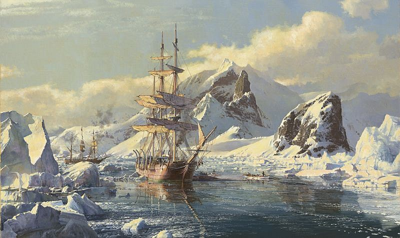 Maarten Platje ,   Arctic Whaling      oil on canvas ,  23 1/2 x 39 1/4 in. (60 x 100 cm)     MP170301