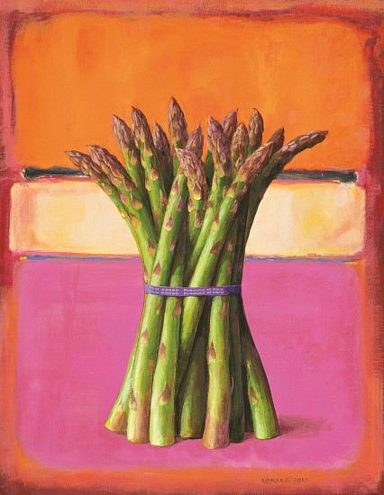 Jenness Cortez, Rothko and Cortez: Asparagus Officinalis 2017, acrylic on mahogany panel