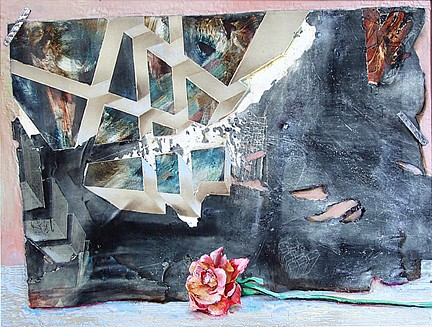 Steve Hawley, Virtual Red Rose 2006, mixed media on panel
