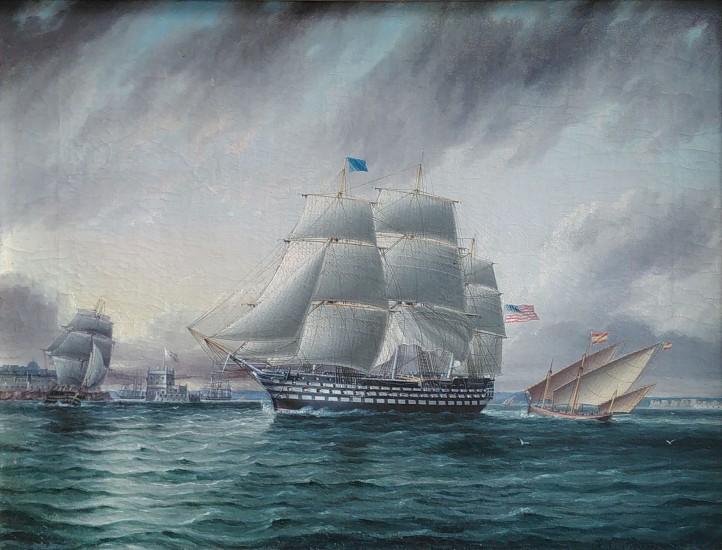 James Edward Buttersworth, American Three Decker off Belem Castle oil on canvas