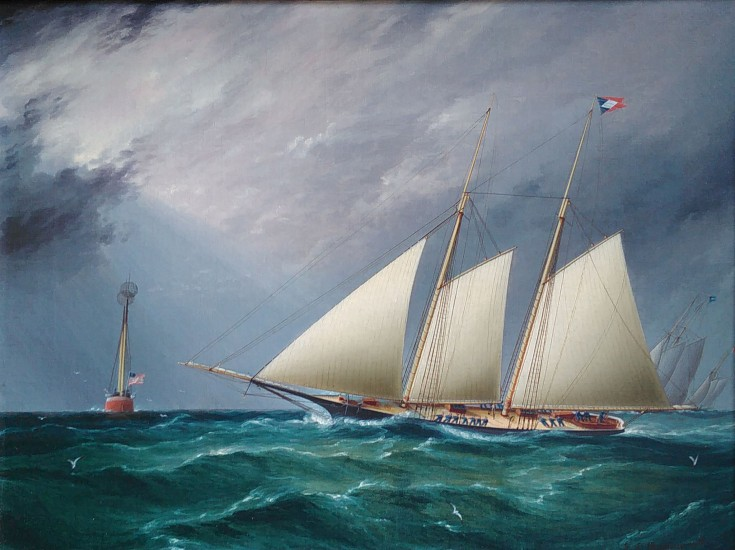 James Edward Buttersworth, SAPPHO leading DAUNTLESS Around the Mark oil on canvas