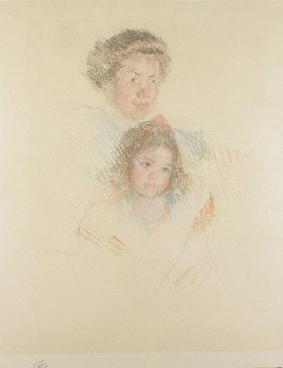Mary Cassatt, Heads of Reine and Margot c. 1902, pastel counterproof on Japan paper