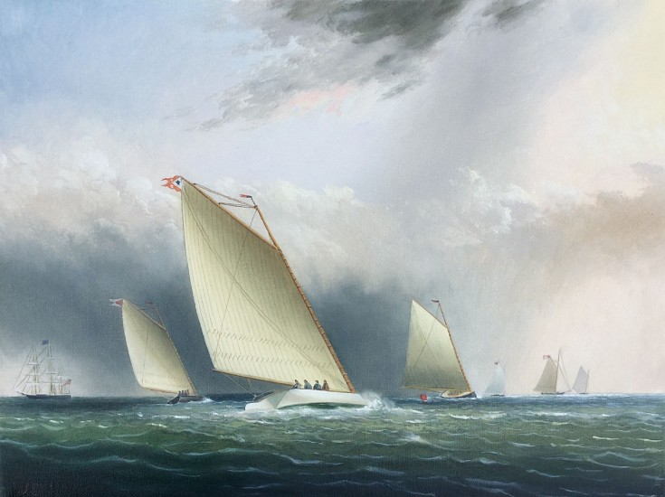 William Storck, After Buttersworth's Racing Catboats 2017, oil on canvas