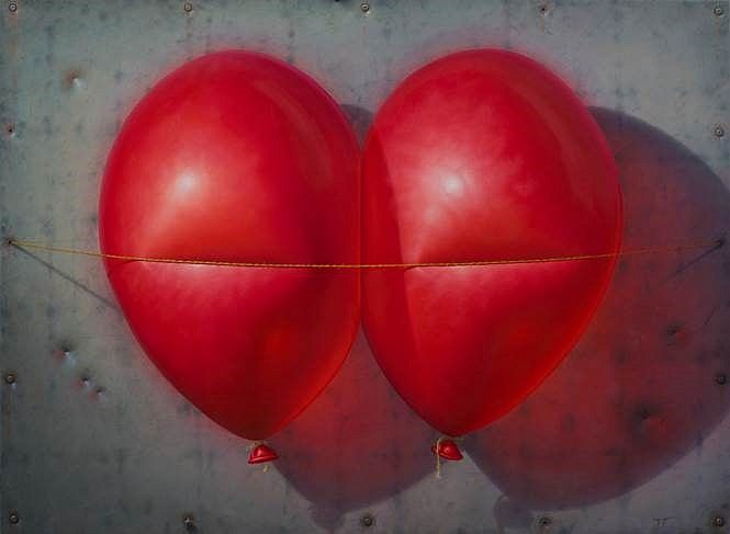 Tommy TC Carlsson, Big Red Together 2017, oil on canvas