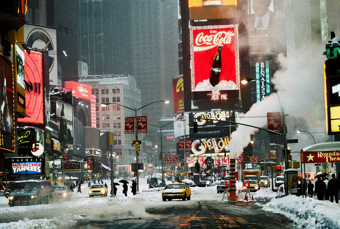 Steve McCurry ,   Times Square in Winter, New York, NY  ,  1994     FujiFlex Crystal Archive Print ,  40 x 60 in. (Inquire for additional sizes)     USA-10083
