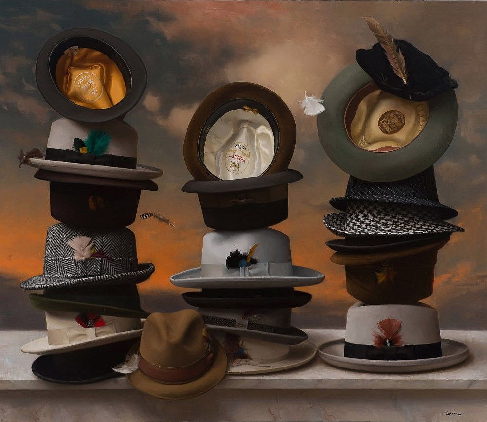 Steven J Levin ,   21 Hats  ,  2017     oil on canvas ,  36 x 42 in. (91.4 x 106.7 cm)     SL171001