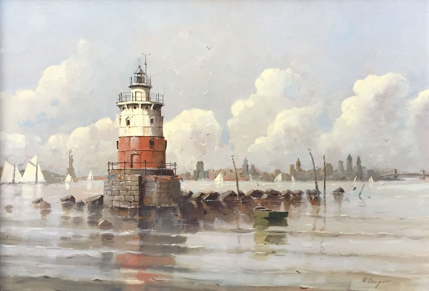 Nicholas Berger ,   Robbins Reef Light: Quiet Sentry in New York Bay  ,  2017     oil on panel ,  11 x 16 in. (27.9 x 40.6 cm)     NB170901