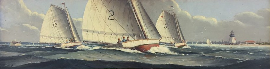 Nicholas Berger, Approaching Nantucket, study 2016, oil on panel