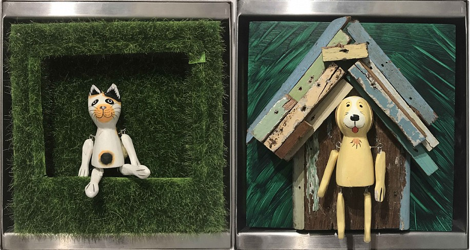 Debranne Cingari (ASSEMBLAGES), Cat N' Dog 2017, mix media in stainless steel case
