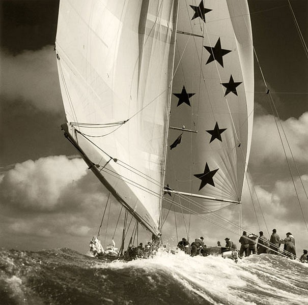 Michael Kahn ,   Endeavor on the Solent [Classic Collection]      silver gelatin photograph ,  14 x 14 in. (35.6 x 35.6 cm)     MK012226