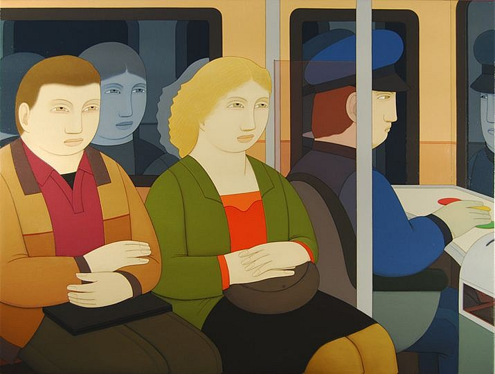 Andrew Stevovich ,   Subway Riders  ,  2014     oil on linen ,  30 x 40 in. (76.2 x 101.6 cm)     AS170901