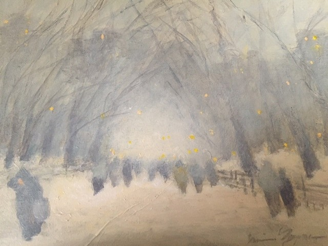 Nina Maguire ,   Central Park Snow  ,  2018     acrylic on canvas with mounted rice paper ,  9 x 12 in. (22.9 x 30.5 cm)     NM1803002