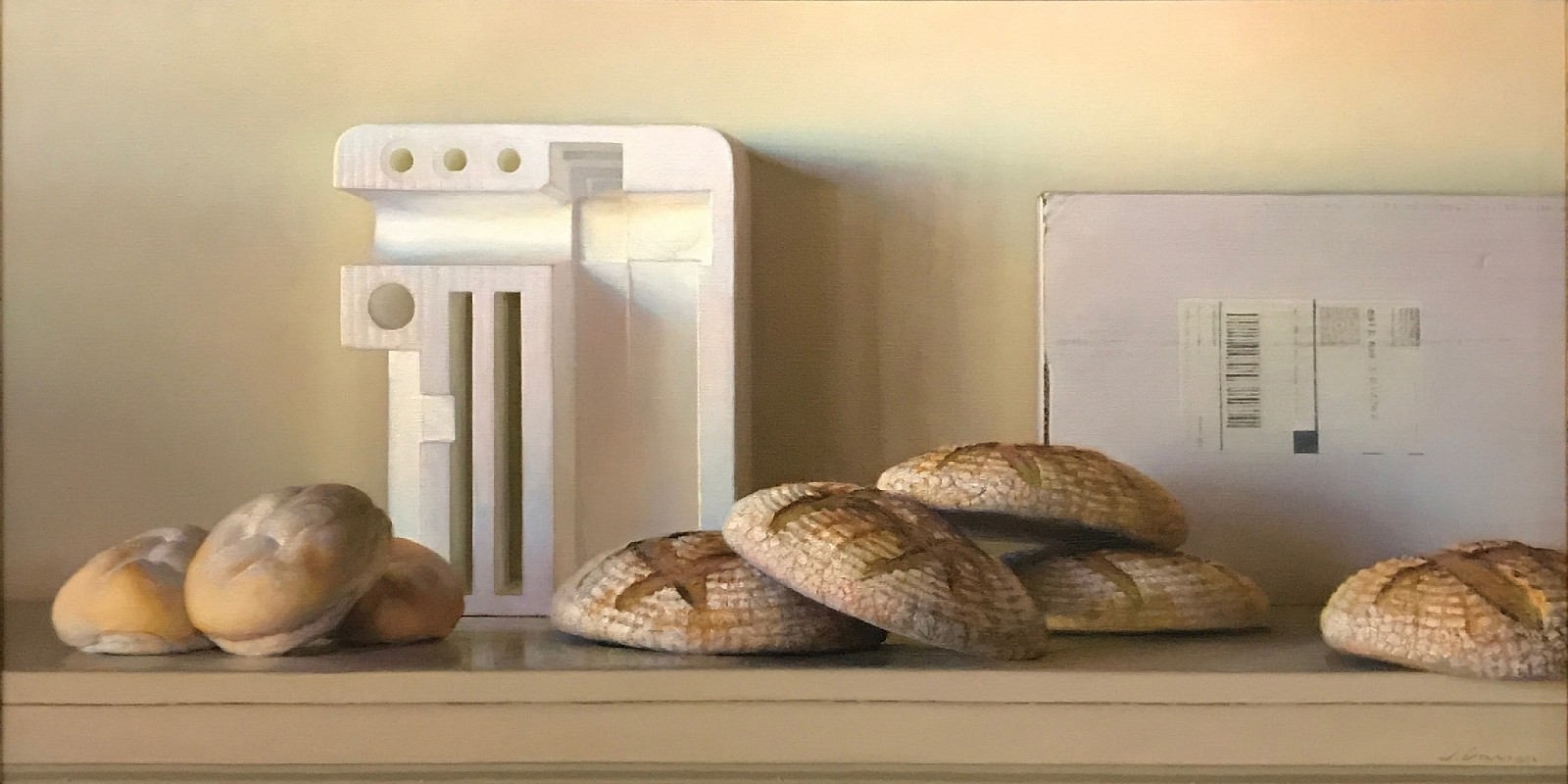 Jeffrey T. Larson ,   Bread & Styrofoam  ,  2010     oil on canvas ,  20 x 40 in. (50.8 x 101.6 cm)     JL1803002