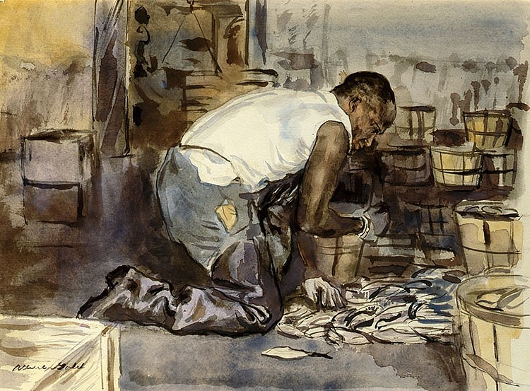 Albert Gold ,   Fish Packing      watercolor on paper ,  12 x 16 3/4 in. (30.5 x 42.5 cm)     AG180401