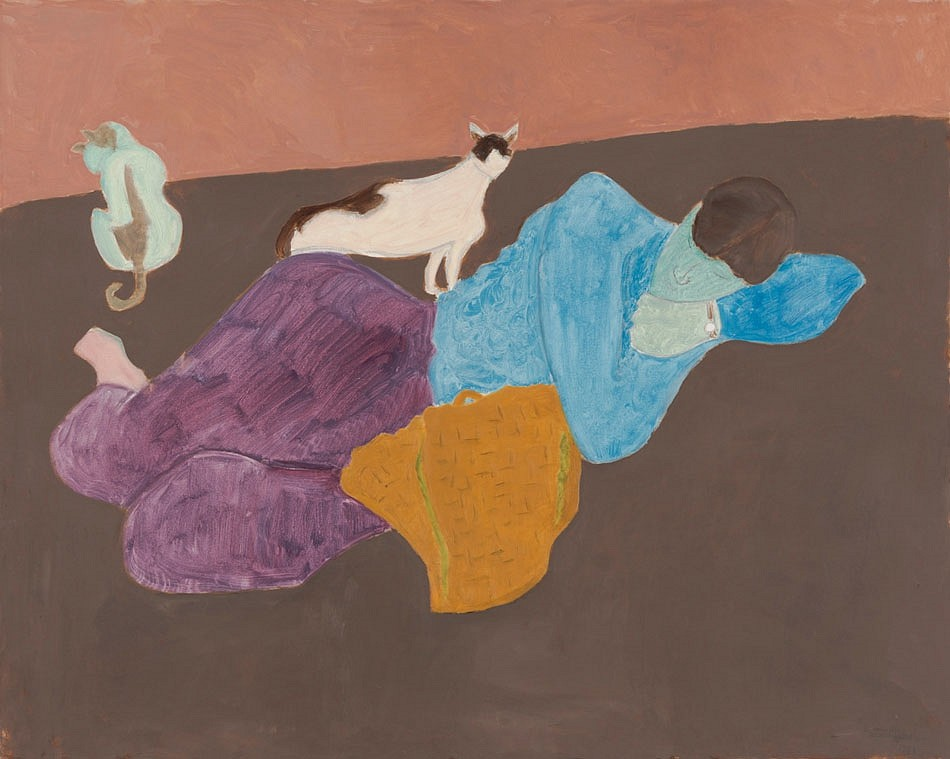 Sally Michel ,   Protective Felines  ,  1988     oil on canvas ,  40 x 50 in. (101.6 x 127 cm)     SM180401