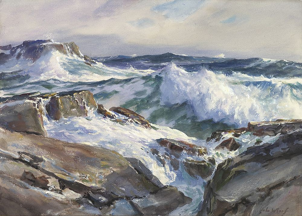 John Whorf ,   Rolling from the East, Maine Coast  ,  1950     watercolor on paper ,  21 1/8 x 29 3/8 in. (53.7 x 74.6 cm)     5835