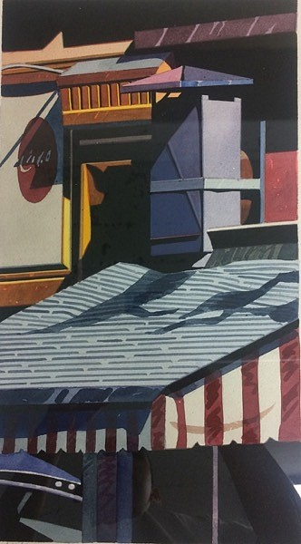 Robert Cottingham ,   Awning  ,  1984     watercolor on paper ,  16 x 8 7/8 in. (40.6 x 22.5 cm)     MMG29108