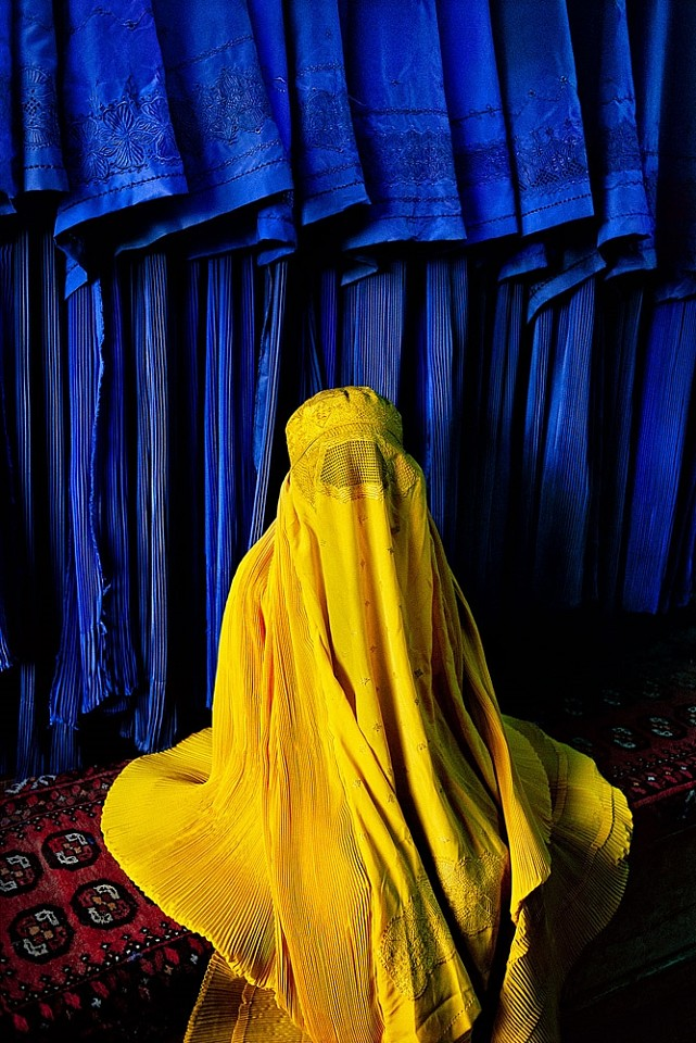 Steve McCurry ,   Woman in Canary Burqa  ,  2002     FujiFlex Crystal Archive Print ,  40 x 30 in. (Inquire for additional sizes)     AFGHN-10149