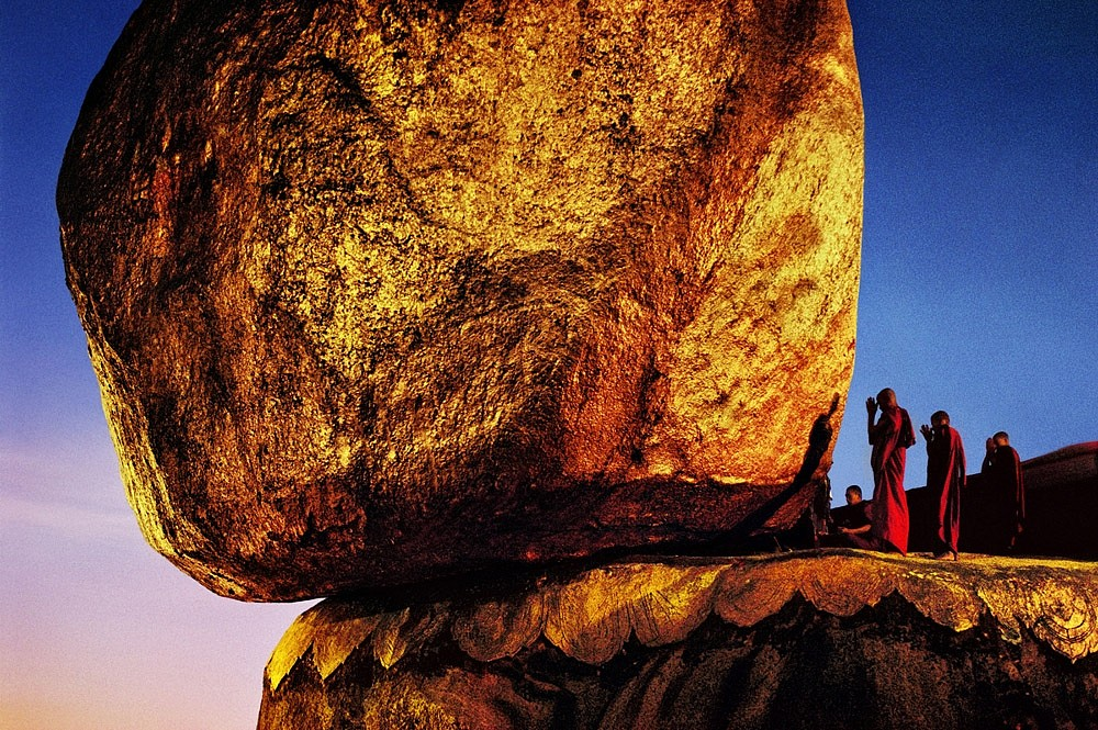 Steve McCurry ,   Monks Praying at Golden Rock, Kyaikto  ,  1994     FujiFlex Crystal Archive Print ,  30 x 40 in. (Inquire for additional sizes)     BURMA10004