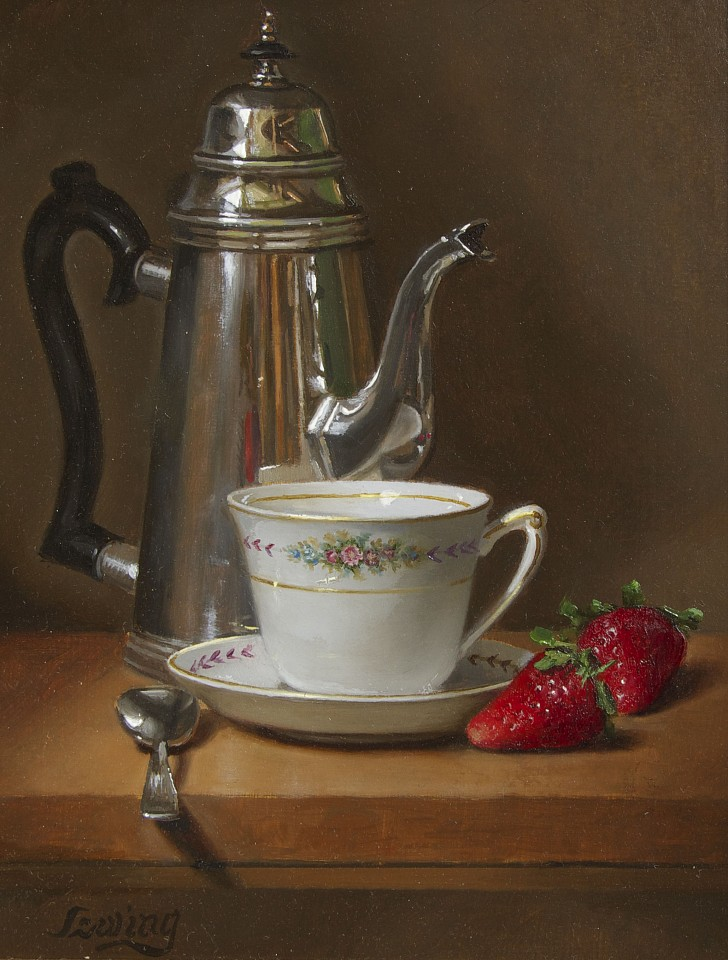 William O. Ewing ,   Limoges, Teacup & Strawberries      oil on wood ,  12 x 9 in. (30.5 x 22.9 cm)     WE180402