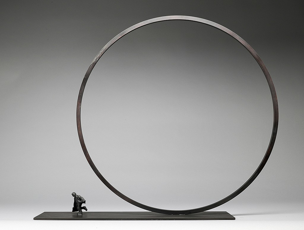 Jim Rennert ,   A Step Ahead, Edition of 45  ,  2006     bronze and steel ,  30 x 34 x 6 in. (76.2 x 86.4 x 15.2 cm)     JR140618