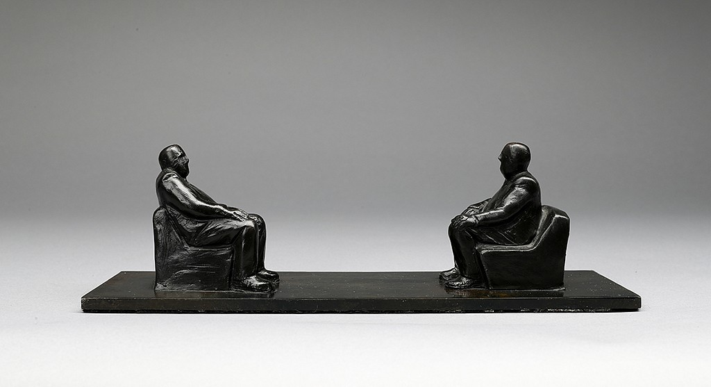 Jim Rennert ,   Face to Face, Edition of 9  ,  2010     bronze and steel ,  3 1/2 x 11 x 3 5/8 in. (8.9 x 27.9 x 9.2 cm)     JR101016