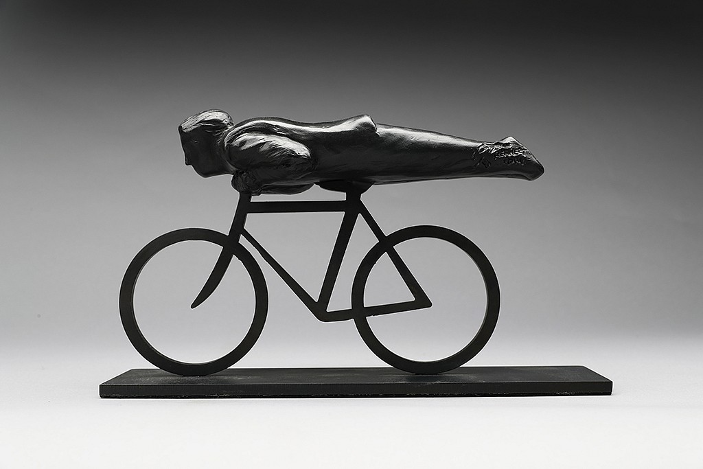Jim Rennert ,   Head First, Edition of 9  ,  2013     bronze and steel ,  19 x 34 x 9 1/2 in. Also Available in 6 1/2 in. Maquette     JR130702