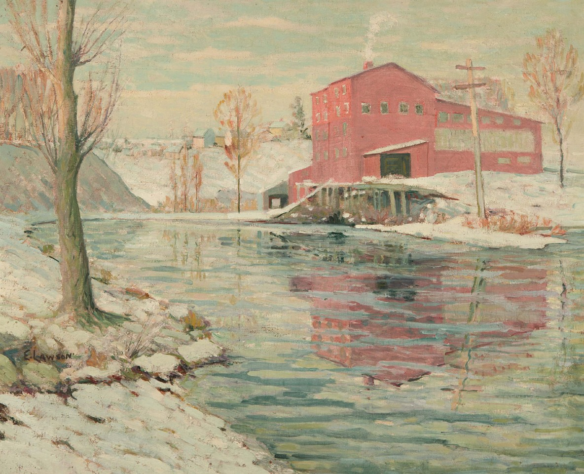 Ernest Lawson, The Red Mill 1916, oil on canvas