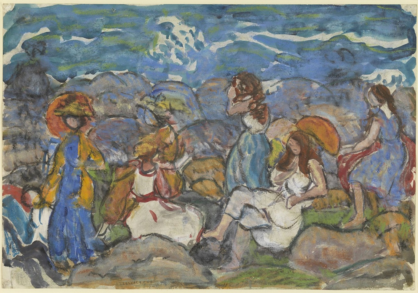 Maurice Prendergast ,   On The Rocks, North Shore, Massachusetts  ,  c. 1916-19     watercolor, pastel and pencil on paper ,  13 3/4 x 19 3/4 in. (34.9 x 50.2 cm)     AG4077
