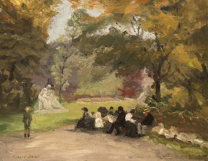 Robert Henri ,   Figures in the Luxembourg Gardens  ,  c. 1898     oil on canvas ,  10 x 13 in. (25.4 x 33 cm)     GC-3413