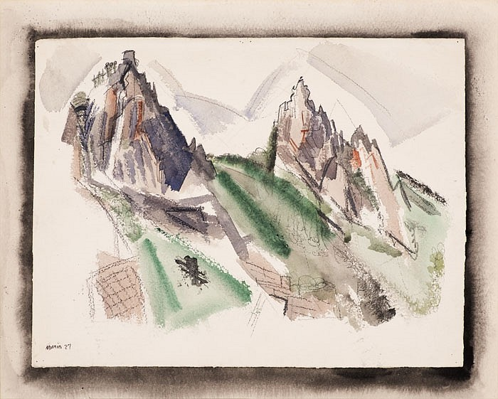 John Marin, White Mountain Country, Summer No. 29, Dixville Notch, No. 1 1927, Watercolor, graphite and black chalk on paper