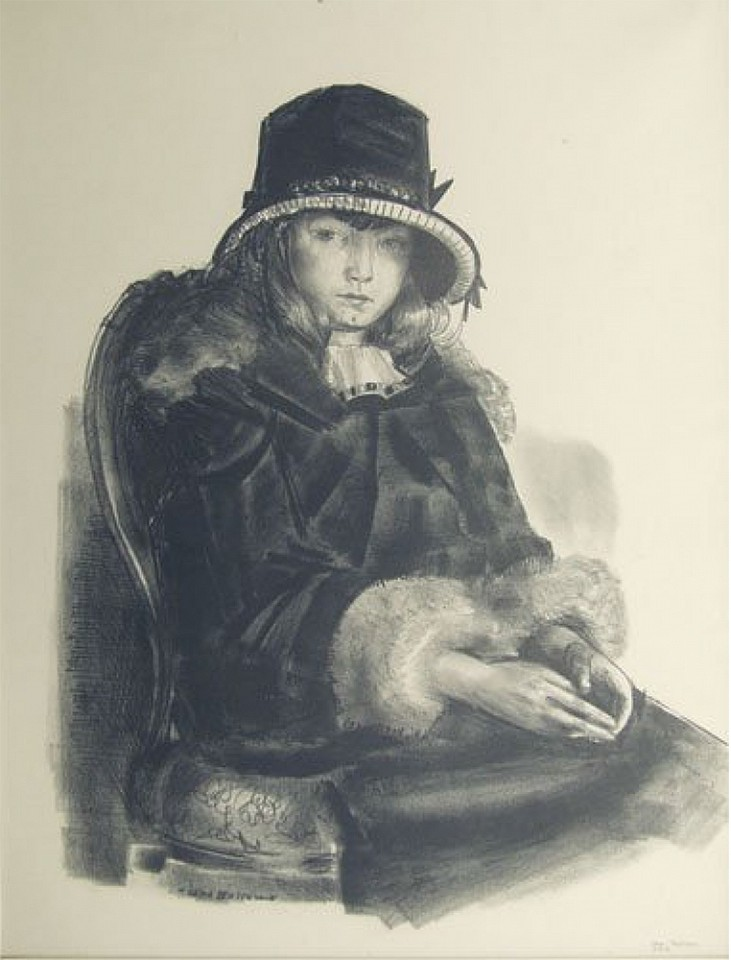 George Wesley Bellows, Anne in a Black Hat 1923-24, lithograph on paper
