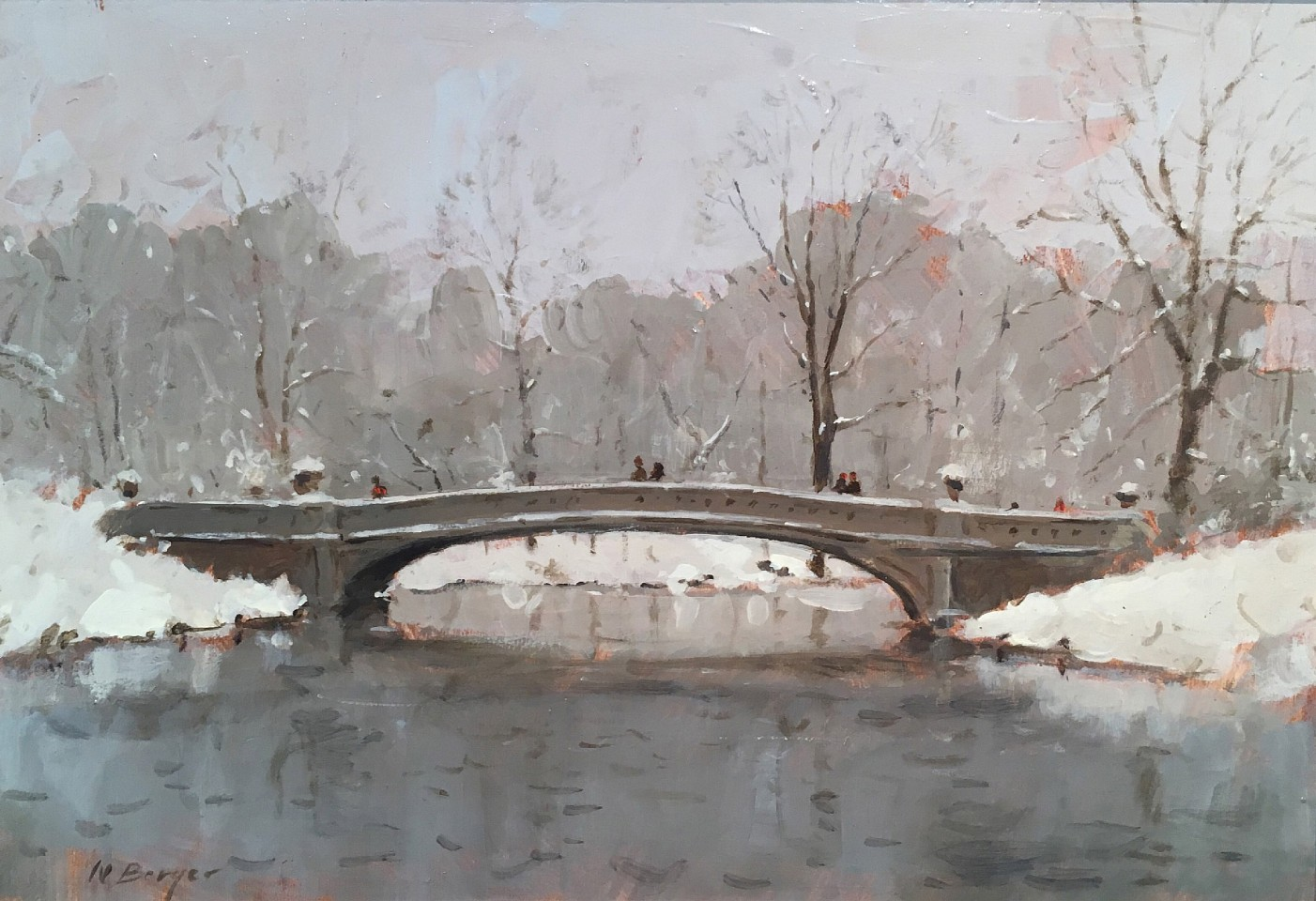 Nicholas Berger ,   Bow Bridge Winter Study  ,  2018     oil on panel ,  7 7/8 x 11 1/4 in. (20 x 28.6 cm)     NB181108