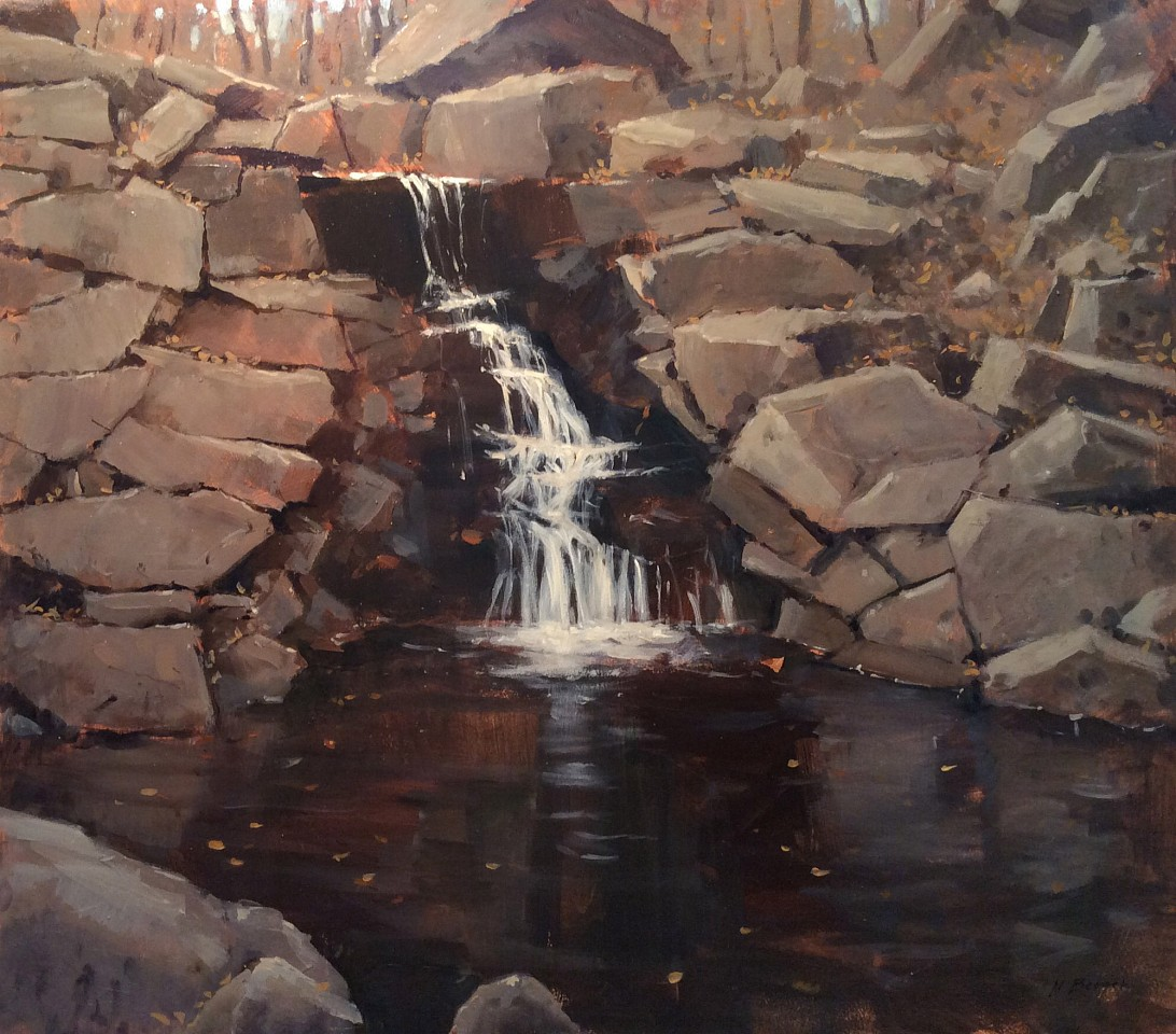 Nicholas Berger ,   North Woods Waterfall, Central Park  ,  2018     oil on panel ,  18 x 20 1/2 in. (45.7 x 52.1 cm)     NB181107