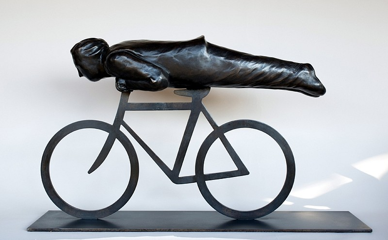 Jim Rennert ,   Head First, AP1  ,  2013     bronze and steel ,  19 x 34 x 9 1/2 in. (48.3 x 86.4 x 24.1 cm)