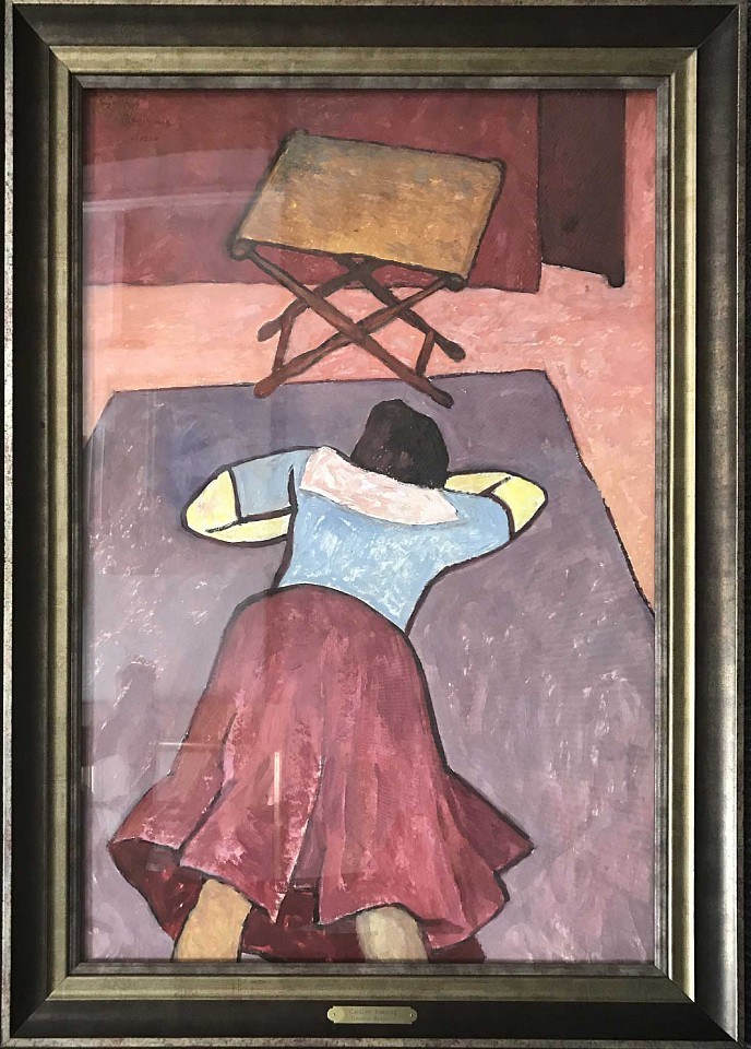 Gershon Benjamin ,   Caroline Sleeping  ,  1950 ca     oil on paper ,  36 x 24 in. (91.4 x 61 cm)     GB1803001