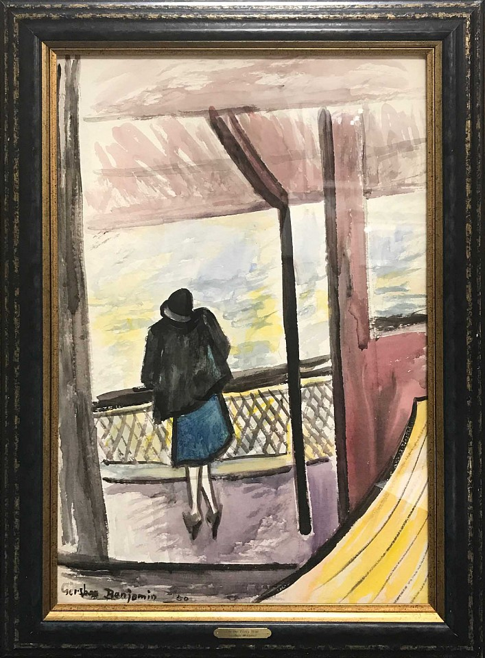 Gershon Benjamin ,   On the Ferry Boat  ,  1950     watercolor on paper ,  35 x 23 in. (88.9 x 58.4 cm)     GB1803007