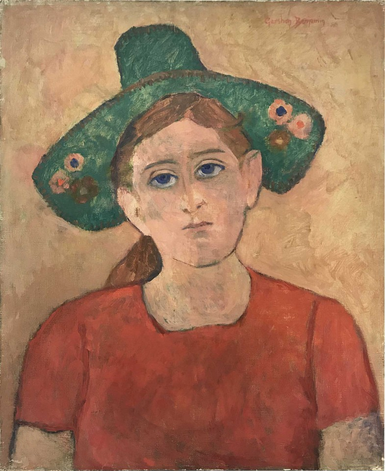 Gershon Benjamin ,   Green Hat  ,  1941     oil on canvas ,  24 x 20 in. (61 x 50.8 cm)     GB1803032