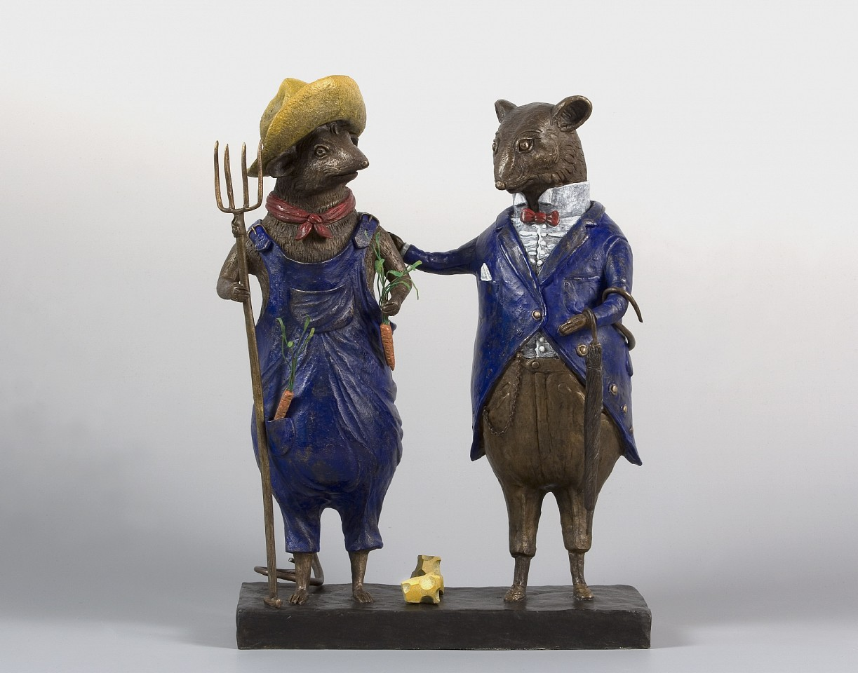 Bjorn Skaarup ,   City Mouse and Country Mouse, Ed. of 9  ,  2018     bronze ,  16 x 12 x 6 in. (40.6 x 30.5 x 15.2 cm)     BS181212