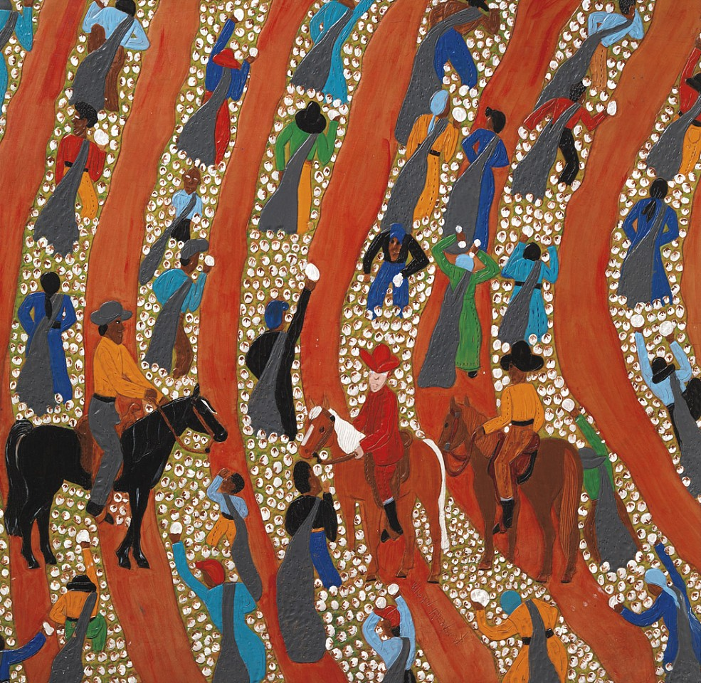 Winfred Rembert ,   Overseers in the Field #1  ,  2007     Dye on carved and tooled leather ,  32 x 32 3/5 in. (81.3 x 82.8 cm)     WR190213