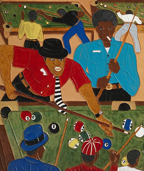 Winfred Rembert ,   Winfred's Pool Room  ,  2007     Dye on carved and tooled leather ,  30 1/2 x 25 4/5 in. (77.5 x 65.5 cm)     WR190214