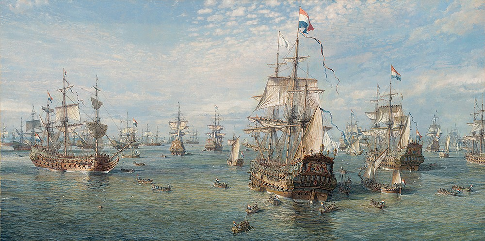 Maarten Platje ,   Council of War on Board 'De Zeven Provincien', 10 June 1666      oil on linen ,  39 3/8 x 78 3/4 in. (100 x 200 cm)     MPLATJE010709