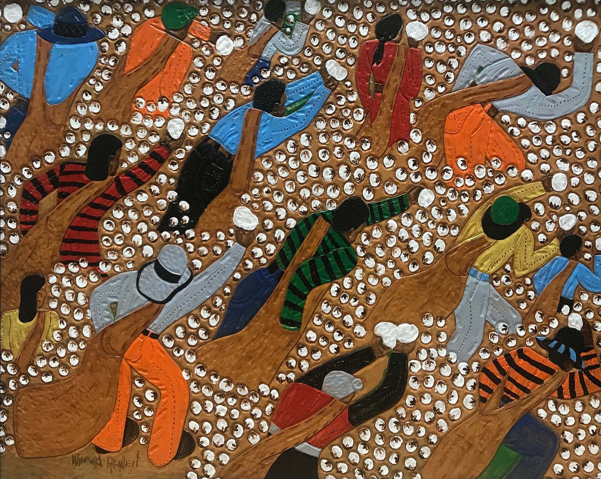 Winfred Rembert ,   Picking Cotton (Brown Cotton Bags)  ,  2008     Dye on carved and tooled leather ,  27 x 33 in. (68.6 x 83.8 cm)     WR190201