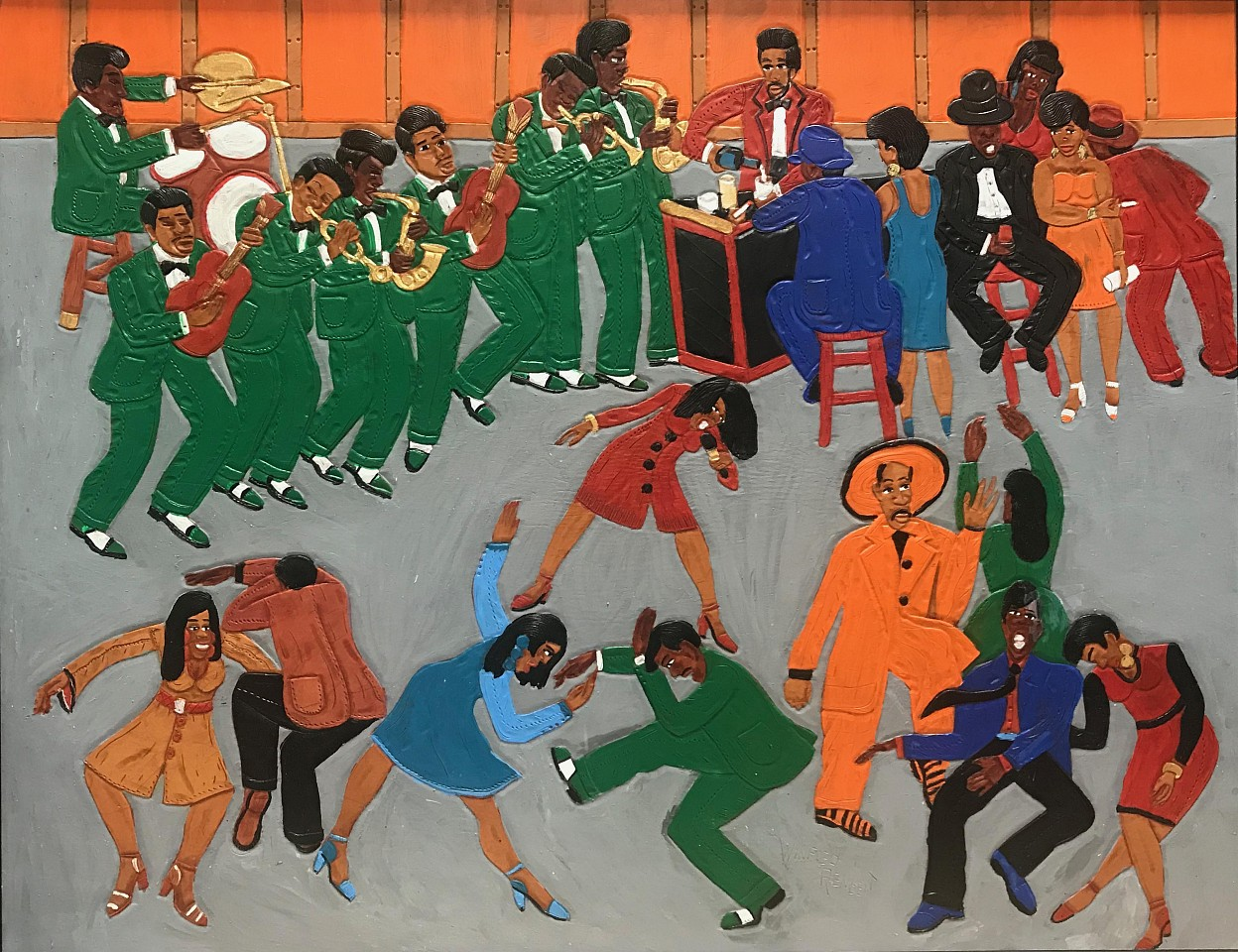 Winfred Rembert ,   Egg: Jazz Dancing  ,  2009     Dye on carved and tooled leather ,  29 1/4 x 35 1/4 in. (74.3 x 89.5 cm)     WR190230