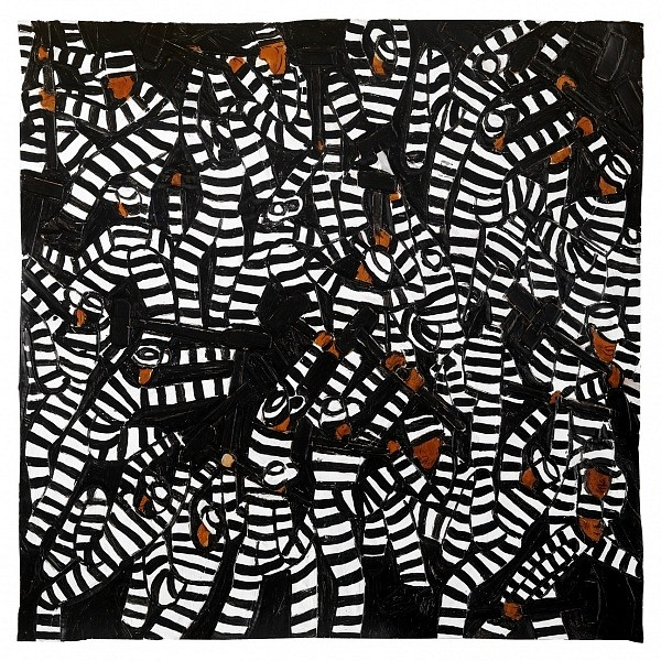 Winfred Rembert ,   Anonymous (All Me)  ,  2015     Dye on carved and tooled leather ,  25 x 25 in. (63.5 x 63.5 cm)     ACPB0086