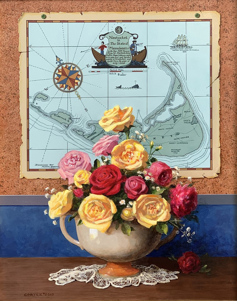Jenness Cortez ,   Nantucket Roses  ,  2019     acrylic on mahogany panel ,  20 x 16 in. (50.8 x 40.6 cm)     JC190602