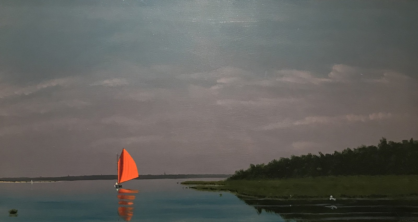 Robert Stark ,   Red Sail, Polpis      oil on canvas ,  15 x 30 in. (38.1 x 76.2 cm)     RS190601